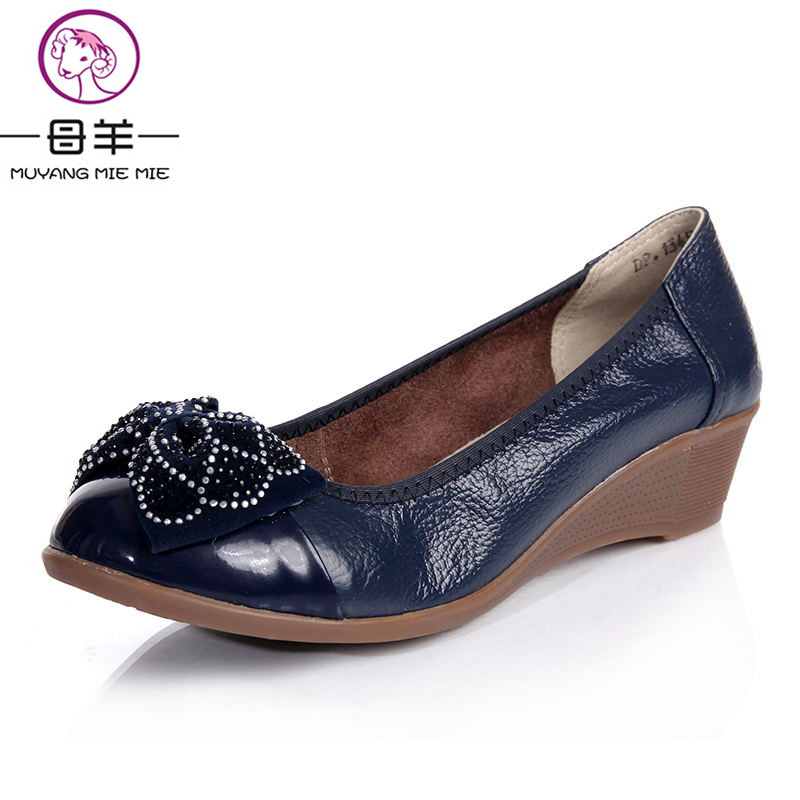 ФОТО MUYANG MIE MIE Plus size(34-42) women genuine leather flat shoes 2016 new fashion rhinestone bow casual single shoes women flats