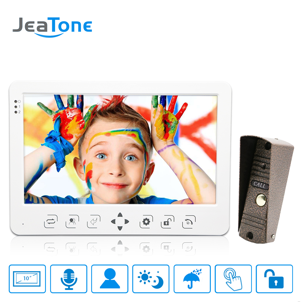 10 inch LCD Touch Key Monitor Video Door Phone Doorbell Intercom System Recording & Picture Night Vision Doorbell Panel 1200TVL jeatone 4 wired lcd color touch key monitor video door phone doorbell intercom system night vision 1200tvl high resolution 2v1