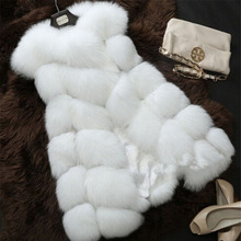 Faux Fur Vest Women Warm Winter Coat Faux Fur Vest Luxury Female Fox Fur Coats Plus Size Fashion Jacket Outwear D-63