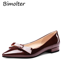 Bimolter New Casual Shoes Women Brand Patent Leather Flats Office Lady chausure Pointed Toe Female Flats Metal Decoration FC057 цена в Москве и Питере