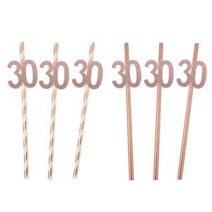 Image 2 - Chicinlife Globo de papel de aluminio rosa dorado, número de cumpleaños 30, caja de palomitas de paja para adulto, suministros para fiesta de cumpleaños y Aniversario