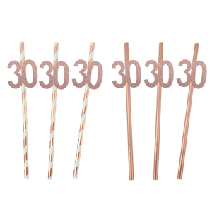 Image 2 - Chicinlife Rosegold 30th Birthday Number Foil Balloon Straw Popcorn Box Adult 30 Years Old Birthday Party Anniversary Supplies