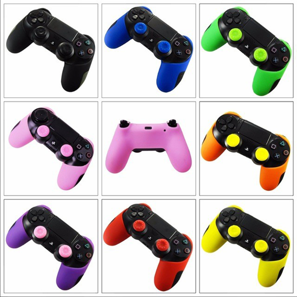 VPLAY for PS4 Controller skin Silicone Thicker Half Skin Case Cover + Thumb Stick Grips for Dualshock 4 Pro PS4 Slim Controller