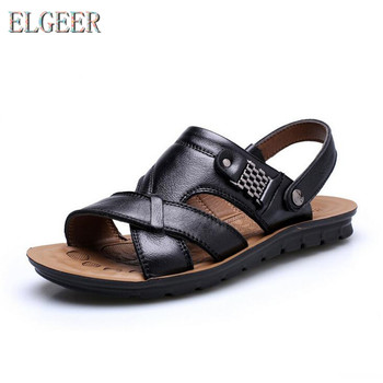 2018 summer beach shoes men's trend casual non-slip sandals 100% leather men's sandals shoe 1