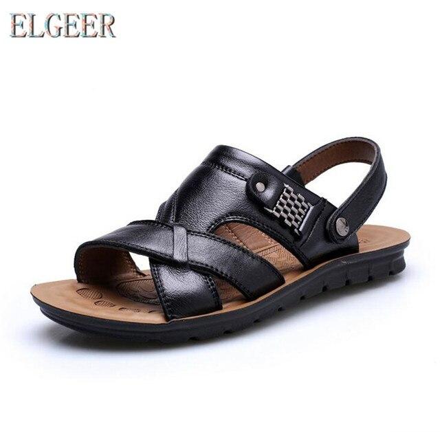 2018 летняя пляжная обувь мужские трендовые повседневные Нескользящие сандалии 100% кожаные мужские сандалии 1