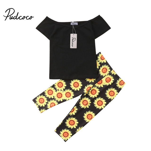 9d6b0b4af pudcoco 0-5T Fashion Kids Baby Girl clothes sets girls T-shirt Tops+ Sunflower Pants Casual cotton Outfit Clothing set 2PCS