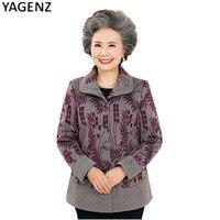 Bahar Kadın Giyim 2017 Yeni Sonbahar Yaşlı Ince Tipi Baskı Ceket Moda Bayanlar Tek göğüslü Yaka Ceket Mont YAGENZ