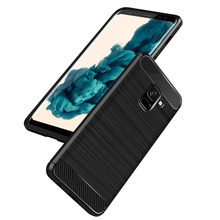Phone Case for Samsung Galaxy A8 Plus 2018 Carbon Fiber Soft TPU Silicone Brushed Anti-knock Back Cover for Galaxy A8 2018 Cover for samsung galaxy a7 2018 fitted shockproof back cover anti skid anti fingerprint silicone soft black tpu phone case