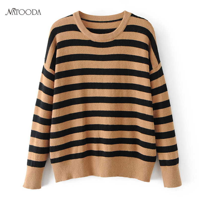 Natooda 2017 Women Black Yellow Striped Knitted Sweaters Three