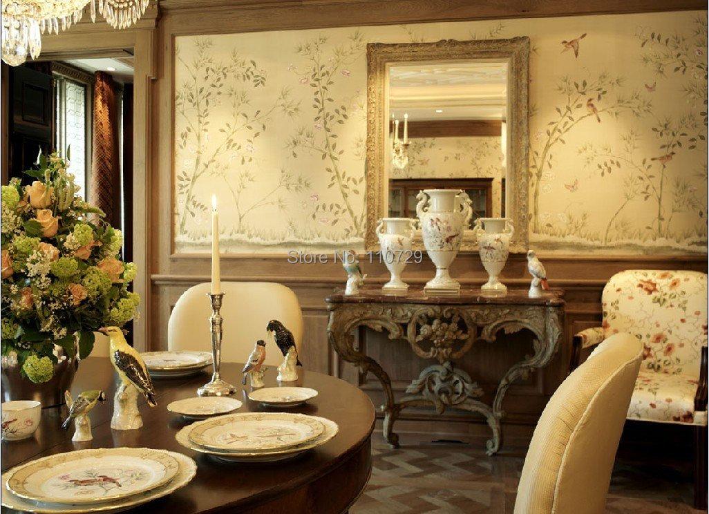 Материал для художественного оформления дома ручная роспись шелковые обои картина цветок с птицами ручная роспись обои много фотографий на выбор