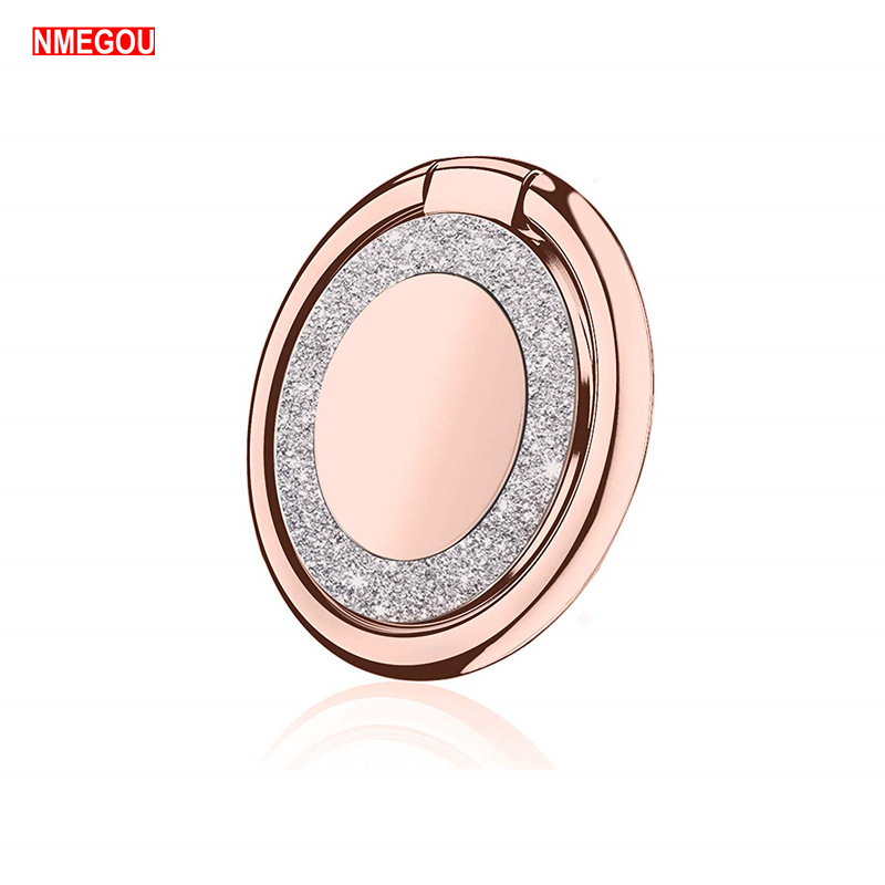 Glitter Bling Diamond <font><b>360</b></font> Mobile Phone <font><b>Finger</b></font> <font><b>Ring</b></font> <font><b>Holder</b></font> Stand Magnetic Car Mount Grip for IPhone X XS Max Cell Bracket Socket image