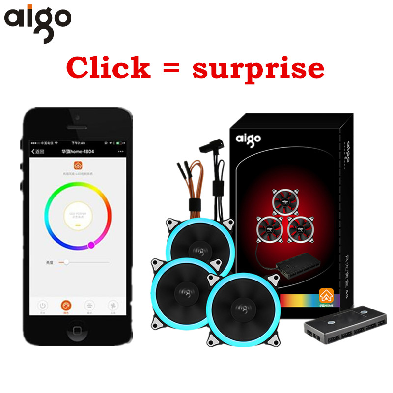 Aigo Treasure Box A3 A5 120mm Led Ring Desktop PC Computer Cooling Cooler Silent Case Fan with wifi Controller Mobile Phone APP personal computer graphics cards fan cooler replacements fit for pc graphics cards cooling fan 12v 0 1a graphic fan