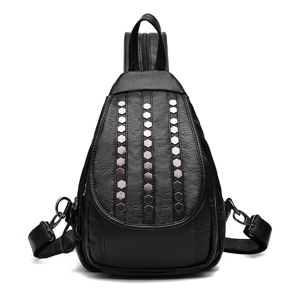 Shiny Fashion Women PU Leather Backpack Stylish Soft Girl Shoulder Bag Lady Leisure Knapsack for School