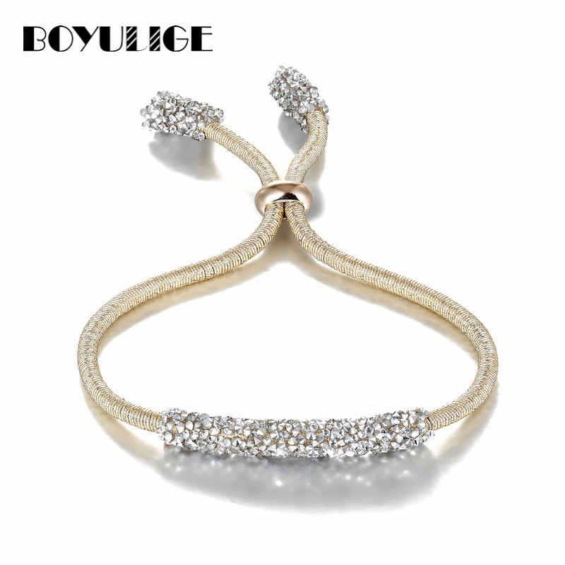 BOYULIGE New Adjustable Silver Gold Charm Crystal Bracelets Bangles For Women Love Blue Men Bracelet homme 2018 Fashion Jewelry