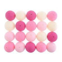 Новый 20 Sweet Пастельные Розовый Цвет Схема Ватные Шарики С СВЕТОДИОДНЫЕ Строки Свет Фея Для Свадьбы Рождество Дома украшения