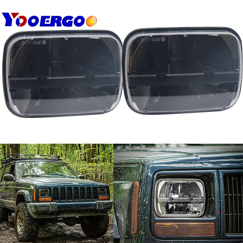 YAIT 2pcs for jeep XJ Cherokee 5x7 Rectangular led headlight 6x7 square LED truck head lamp lighting headlamp for MJ Comanche faduies 5x7 auto drl led headlamp 5x7 inch led truck headlight 6x7 high low beam square led headlight for jeep cherokee xj