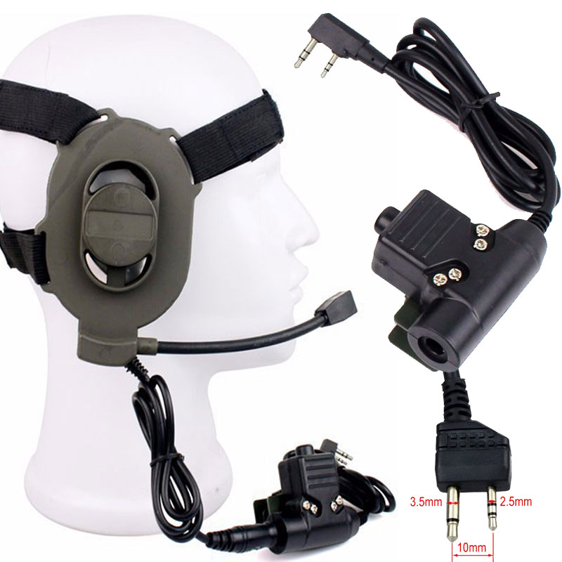 Tactical Bowman Elite II Headset With 2 Pin U94 PTT Cable Plug For Kenwood Midland Hunting Radio Walkie Talkie