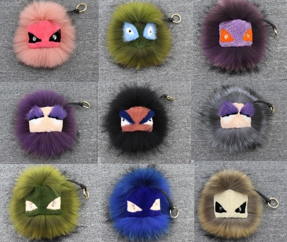 Monster plush toys Charm pendant real fur pompom F monster fur ball Key Chains bag hanging drop Bag Tag Leather Accessories