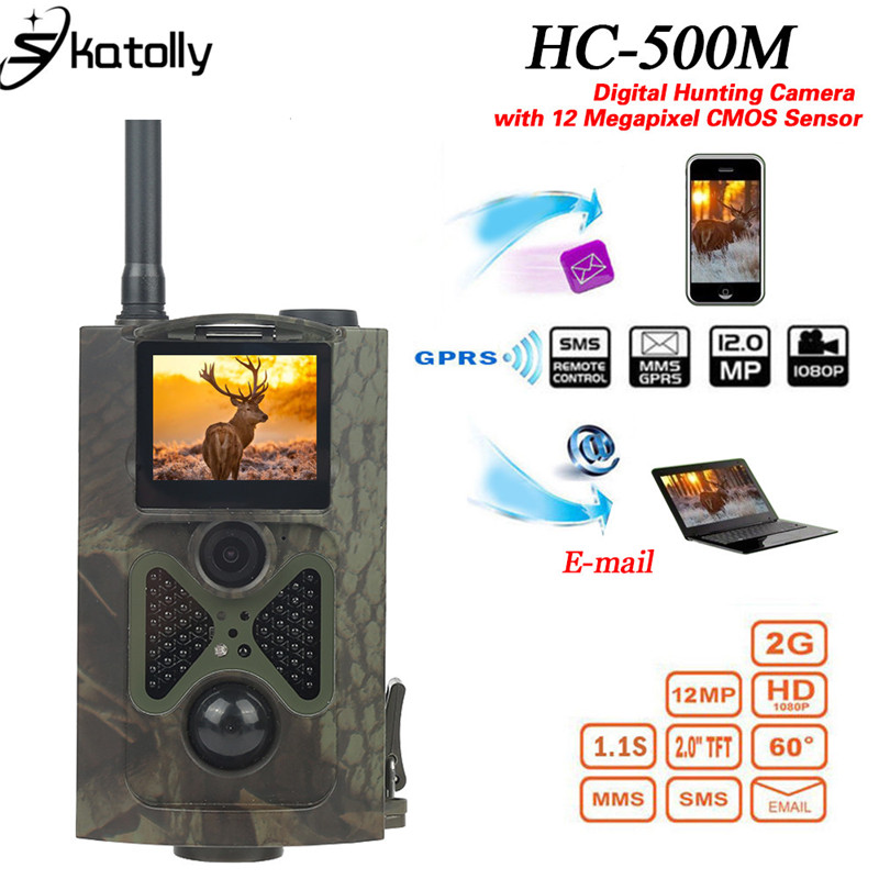 Skatolly HC-500M Hunting Trail Camera for Wildlife Photo Trap with 48Pcs Night Vision Infrared LEDs Hunting Video 12MP HD Camera jho hc 300m hd 12mp 940nm photo trap scout hunting camera telecamera infrared
