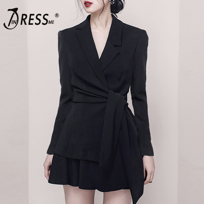 INDRESSME 2019 New Women Fashion OL Style 2 Piece Sets Suits Deep V Long Sleeve Slim