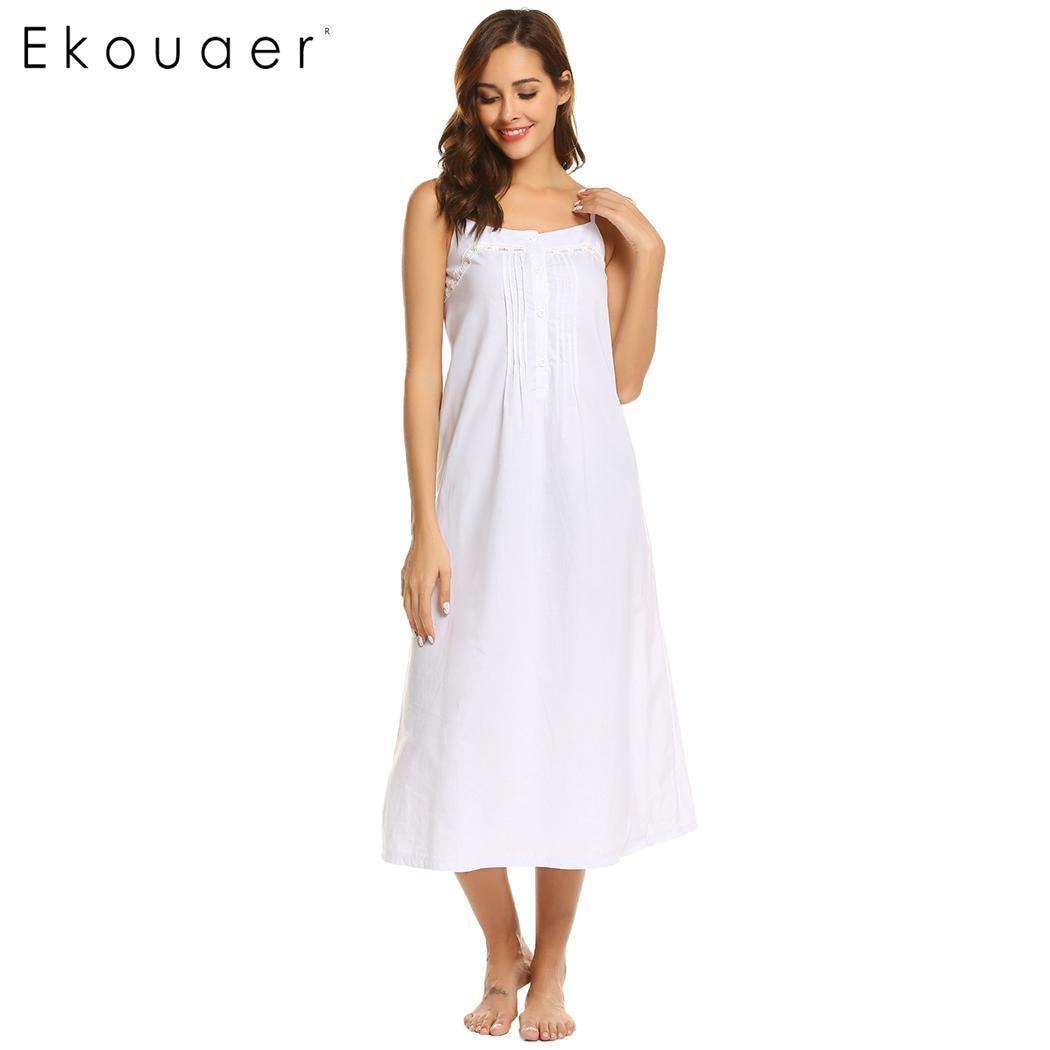 Ekouaer Women Vintage   Nightgowns     Sleepshirts   Casual Sleeveless Adjustable Button Lace Spaghetti Straps Nightwear Night Dress