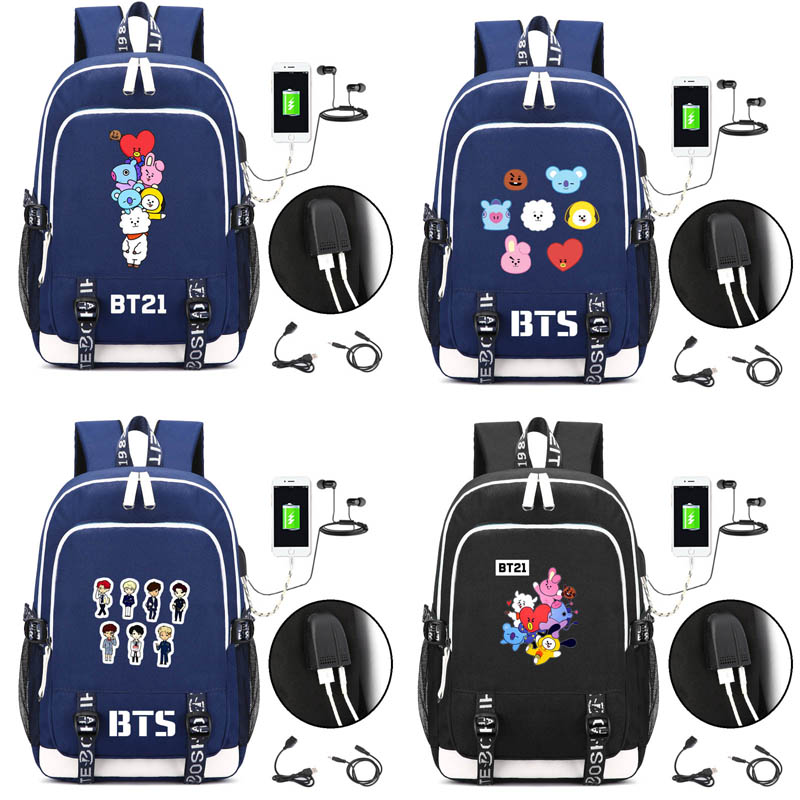 KPOP BTS Bangtan  backpack yourself lovely travel bag with USB Charging Port and Lock &Headphone interface