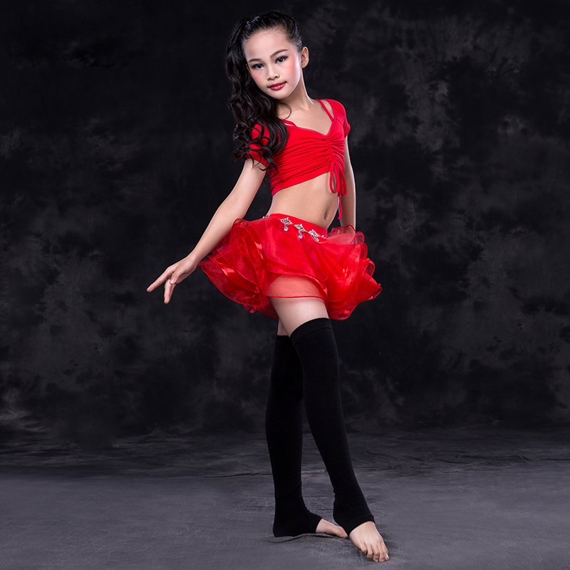 2018 nouveau Costume de danse du ventre des filles danse orientale Costume de Performance du ventre des enfants indiens hauts + jupe 2 pièces/ensemble 4 couleurs