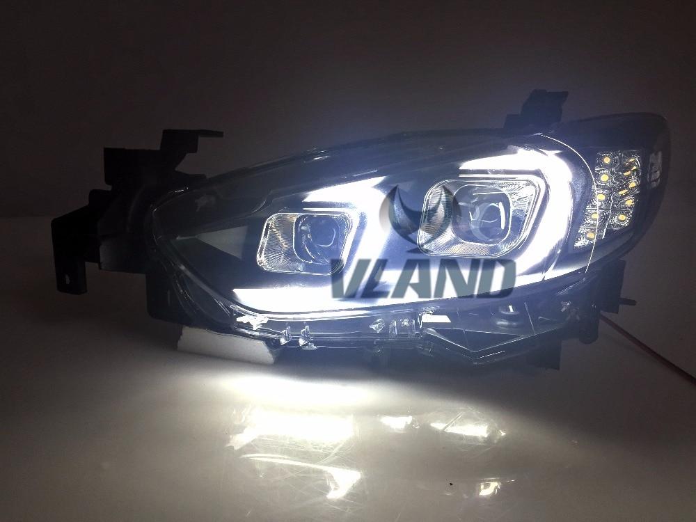 Бесплатная доставка для автомобиль для укладки фары для Мазда 6 Атенза светодиодные ДХО для фар линзы ксенона Н7 фар