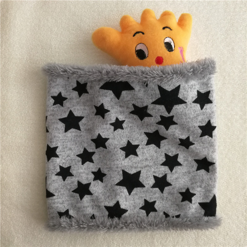 Новинка; зимний шарф с кругами; Детские шарфы; пять звезд; нагрудник для мальчиков и девочек; хлопковый Детский шарф; мягкие теплые шарфы с кольцом - Цвет: Gray and Black Stars