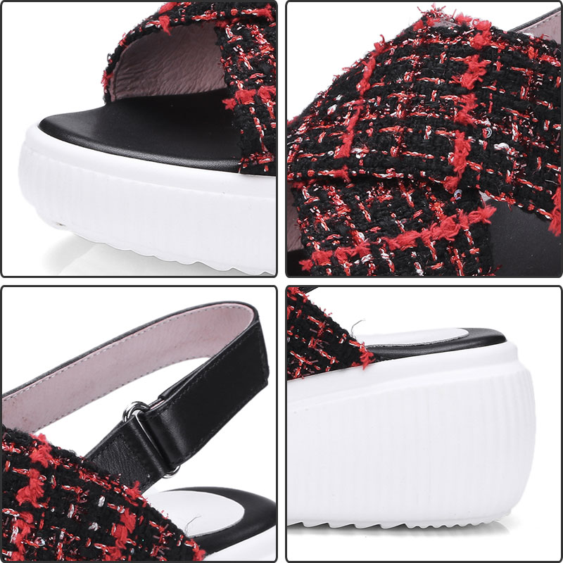 3660dff8a77b3 ... Plaid Women s Genuine Leather Sandals Summer Ankle Arrivals Shoes  Platform Fanyuan Cloth Casual Strappy Footwear Shoes ...