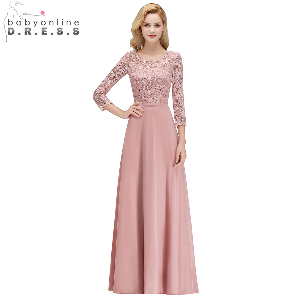 2019 Three Quarter Sleeve Pink Lace   Bridesmaids     Dresses   O-Neck Pleat Chiffon Wedding Party   Dresses   Prom Gown Long   Dresses