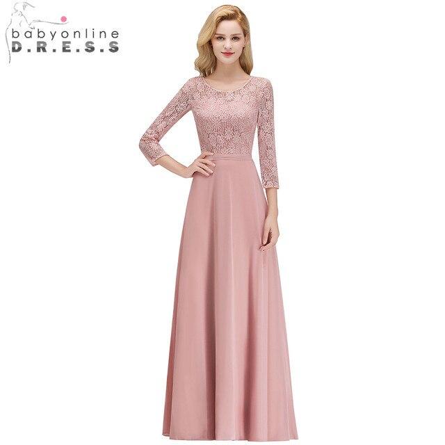 2019 Trois Manches Trimestre Rose Dentelle Demoiselles D honneur Robes  O-cou Plissée En 67be213b4c5