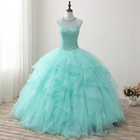 Mingli Tengda Handmade Beading Quinceanera Dresses Luxurious Ball Gown Mint Green Halter Princess Sweet 16 Dresses Tiered Pearls