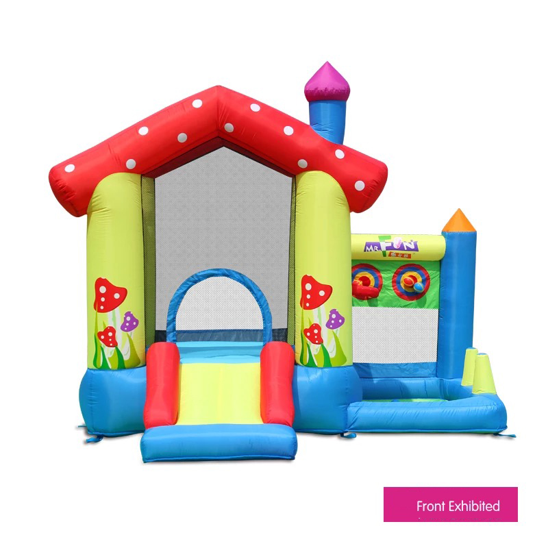 HTB1pwYOPFXXXXbkXpXXq6xXFXXXo - Mr. Fun Inflated Bouncing Castle Mushroom Jumper Playhouse with Kids Slide, Ball Pool, & Target Game with Blower