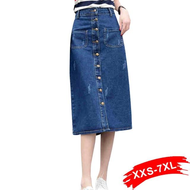 c98483bc3a Autumn Plus Size Button-Down Long Denim Skirt 16 18 20 5Xl 6Xl 7Xl  Oversized Medium Wash Dark Blue Maxi Long Skirts