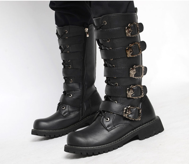 2016 European New Men's High Boots Leather Motorcycle boots for Man Black Buckle Punk Flat Boot Mid-Calf Harness botas L102410
