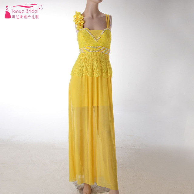 3ab4aff54d841 Aliexpress.com : Buy Yellow A Line Evening Dresses Spaghetti Elegant Prom  Gowns Women Formal Night Wear Maid of Honor Gowns ZE060 from Reliable ...