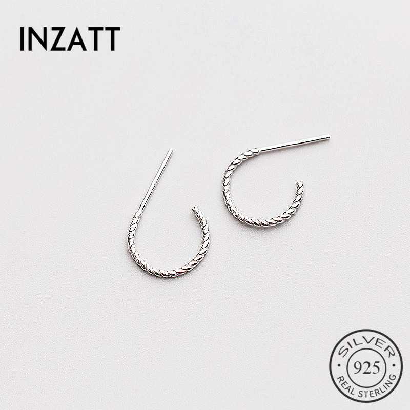 INZATT Minimalist Twist Line Geometric Stud Earrings 2018 For Women Rose gold Color 925 Sterling Silver Fashion Jewelry Gift