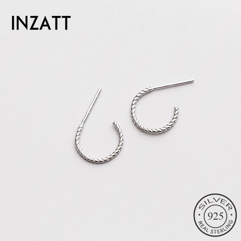 INZATT Minimalist Twist Line Geometric Stud Earrings 2018 For Women Rose gold Color 925 Sterling Silver Fashion Jewelry Gift