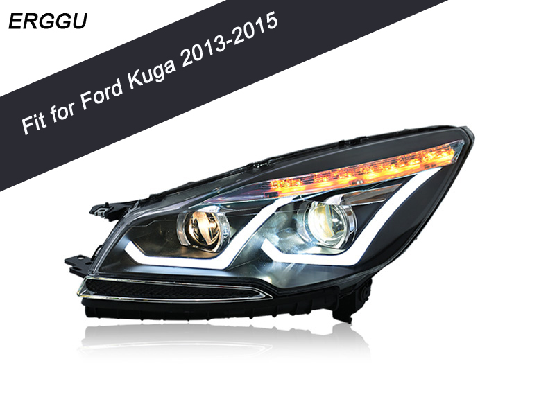 Car Styling for Ford Kuga Headlights 2013-2015 Kuga LED Headlight DRL Lens Double Beam H7 HID Xenon bi xenon lens hireno headlamp for 2013 2015 nissan tiida headlight assembly led drl angel lens double beam hid xenon 2pcs