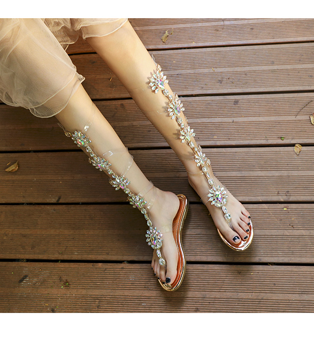 Bohemia Style Crystals Women Sandals Fashion Summer Clear PVC Platform Sandals Buckle Straps Rhinestone Gladiator Sandals Women