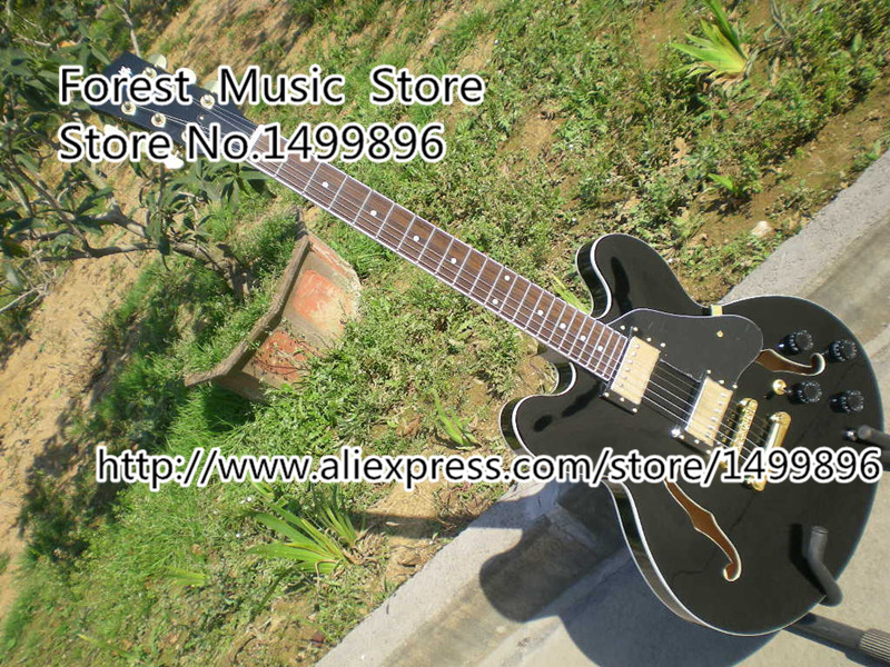 Custom Shop China Music Instrument Glossy Black ES Guitar Classic Hollow Body Electric Guitar Left Handed Available free ship sunset glow tiger flame es classical johnny a signature hollow body electric guitar china custom available