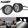 2X LED Universal Motorcycle Headlight Headlamp Waterproof Motorbike Cafe Racer Scooter Head Light / Fog Lamp 15W 6000K 3000LM