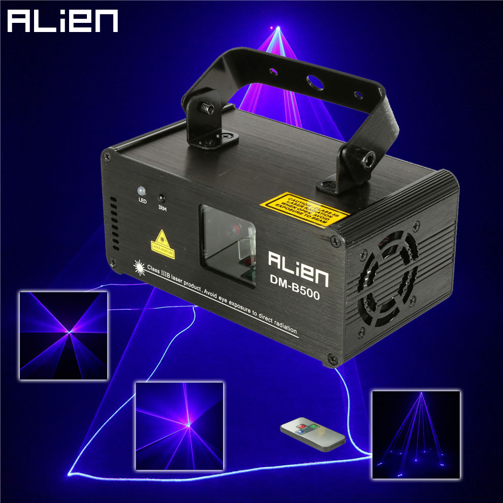 ALIEN DMX512 500mW Blue DJ Laser Projector Scanner Stage Lighting Effect Disco Party Bar Home Xmas Remote Light Show Lights alien 300mw rgb stage lighting effect dj disco party home wedding laser projector light xmas remote laser system show lights