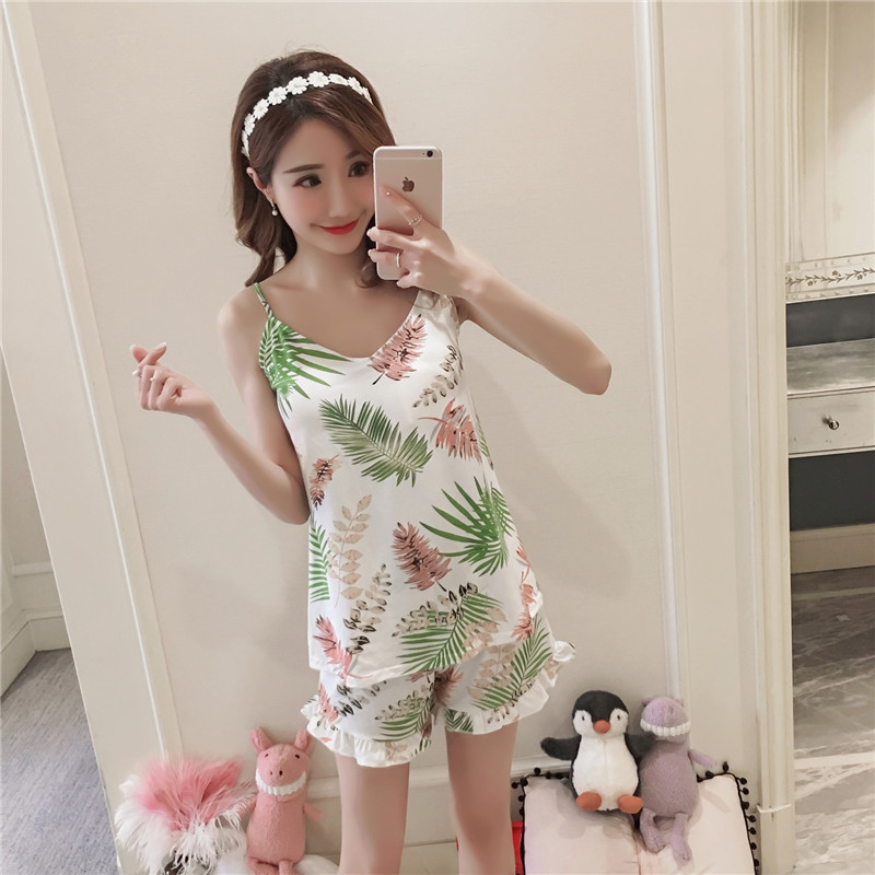 factory wholesale Women Pajamas Suit Sexy Home Sleepwear Sling Pyjamas Chest Pad Girl Pajamas short Pant fashion nightgownsuit