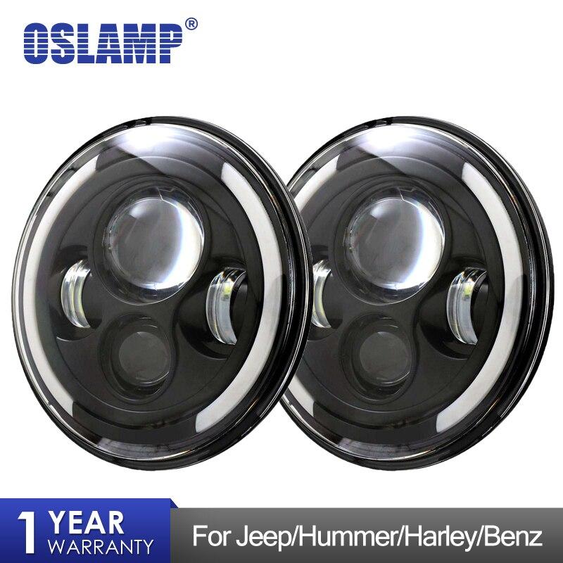 Oslamp 2x 7 Round LED Headlight Hi Low Beam DRL Halo Angle Eye for Jeep Wrangler