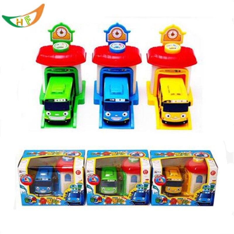 One piece Coreano Cute Cartoni Animati garage tayo piccolo bus modello mini tayo bambino di plastica araba oyuncak auto per i bambini regalo Di Natale