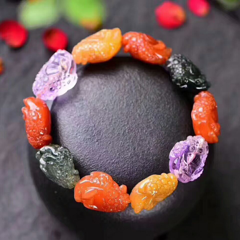 Wholesale JoursNeige Color Natural Crystal Bracelets Gold Toad Goldfish Lotus Hand String Lucky for Women Men Crystal Jewelry