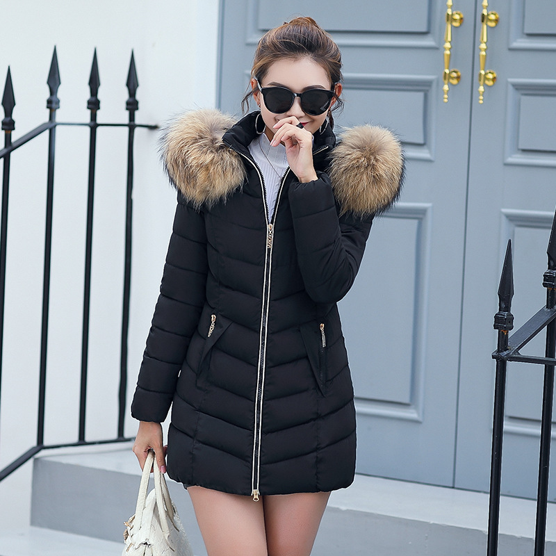 Slim Women Winter   Parkas   Cotton With Fur Collar Hooded Jackets Ladies Fashion Black Casual Warm Long Coats Women Outwear MLD1273