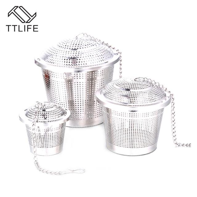 TTLIFE New Stainless Steel Spice Tea Strainer Mesh Infuser tea strainer Filter infusor Sphere Mesh Tea Strainer Handle Tea Ball